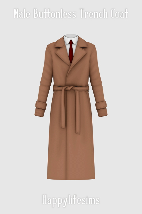Sims 4 Male Buttonless Trench Coat at Happy Life Sims