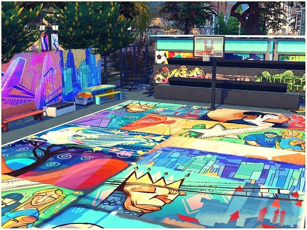 Sims 4 Street Art basketball playground by lotsbymanal at TSR