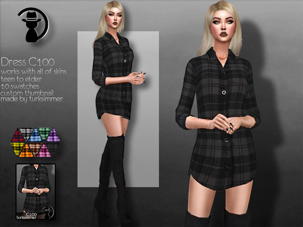 Sims 4 Dress C100 by turksimmer at TSR