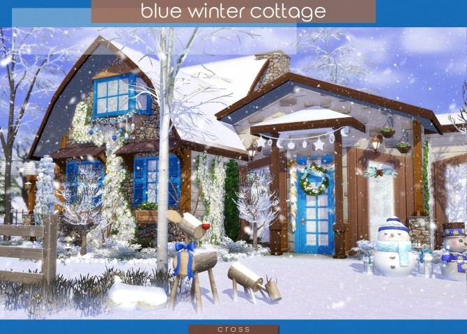 Blue Winter Cottage by Praline at Cross Design image 1986 670x479 Sims 4 Updates