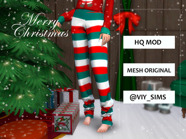 Trousers Christmas V C by Viy Sims at TSR image 2010 Sims 4 Updates