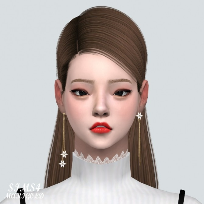 Unbalance Flower Chain Earrings at Marigold image 2021 670x670 Sims 4 Updates