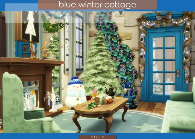 Blue Winter Cottage by Praline at Cross Design image 2036 670x479 Sims 4 Updates
