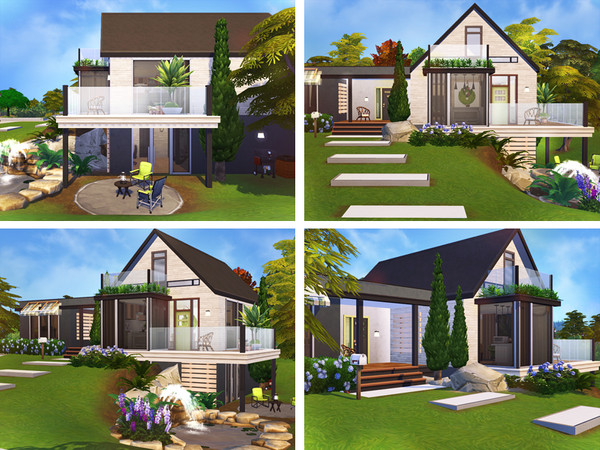 Sims 4 Larkin contemporary cottage by Rirann at TSR