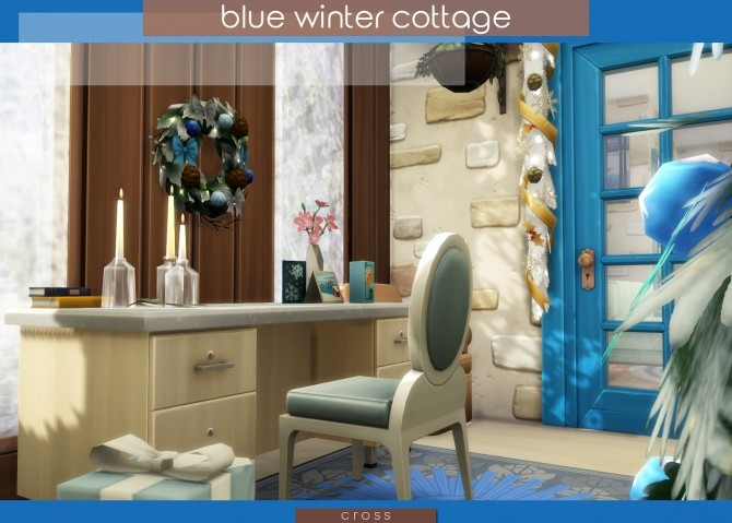 Blue Winter Cottage by Praline at Cross Design image 2046 670x479 Sims 4 Updates