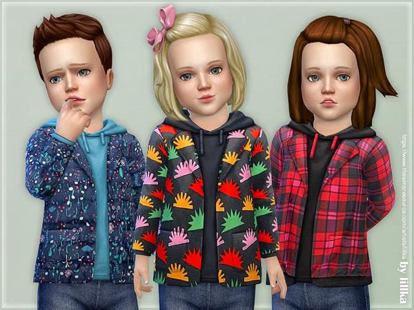 Sims 4 Printed Toddler Jacket 02 by lillka at TSR