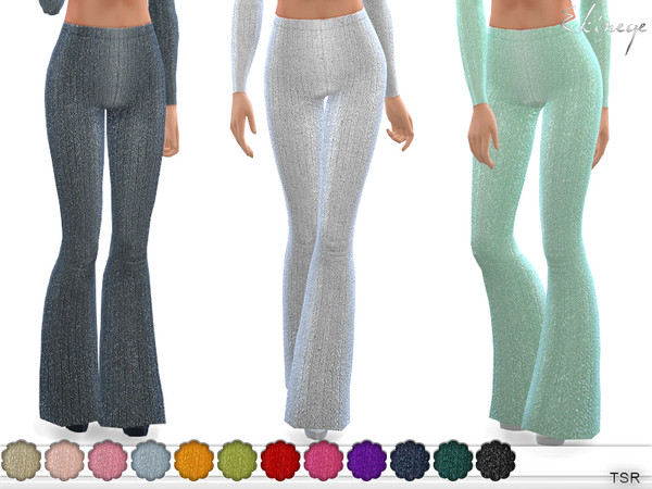 Sims 4 Metallic Rib Knit Flare Pants by ekinege at TSR