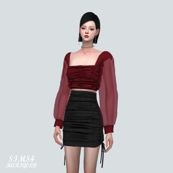 Sims 4 See through Shirring Blouse at Marigold