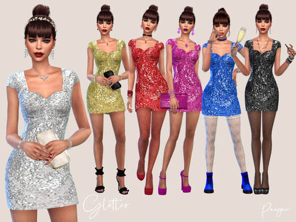 Sims 4 Glitter mini dress by Paogae at TSR