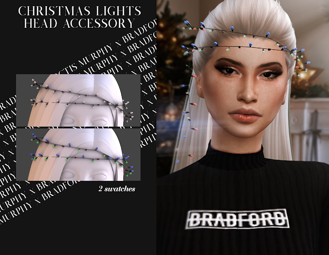 Christmas Lights Head Accessory by Silence Bradford at MURPHY image 2176 Sims 4 Updates