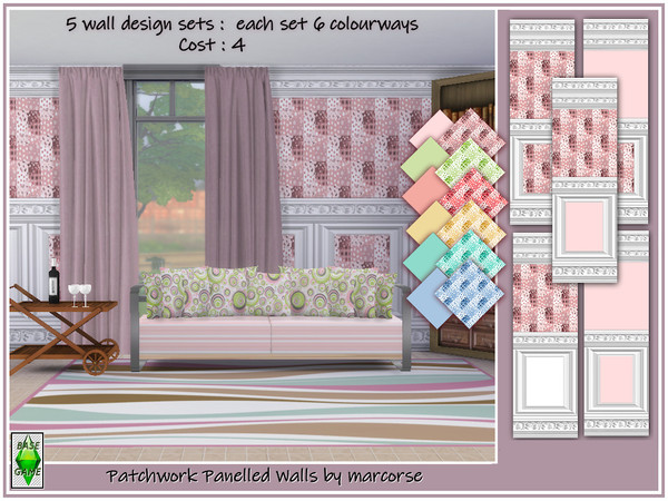 Sims 4 Patchwork Panelled Walls by marcorse at TSR