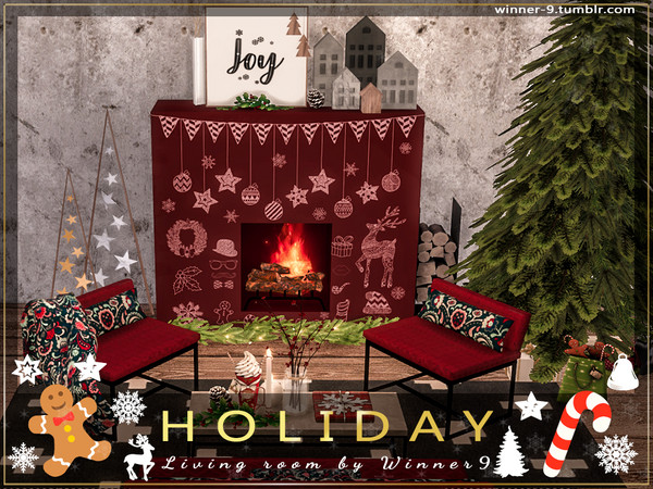 Holiday Living Room by Winner9 at TSR image 2228 Sims 4 Updates