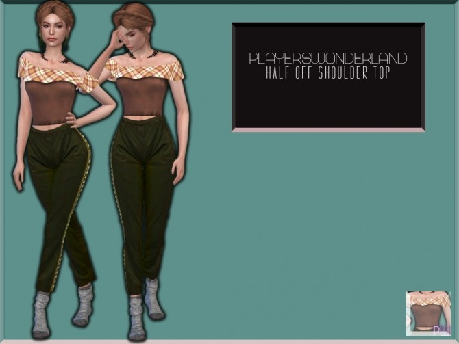 Sims 4 HALF OFF SHOULDER TOP at PW's Creations