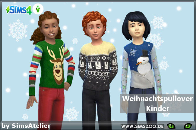 Christmas sweater kids by SimsAtelier at Blacky's Sims Zoo image 2273 Sims 4 Updates