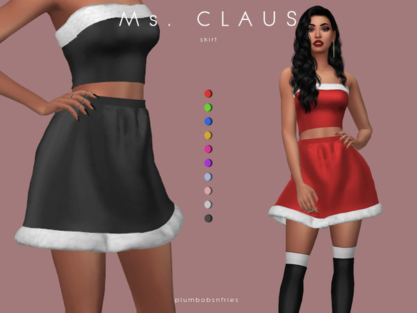 Sims 4 Ms. CLAUS skirt by Plumbobs n Fries at TSR