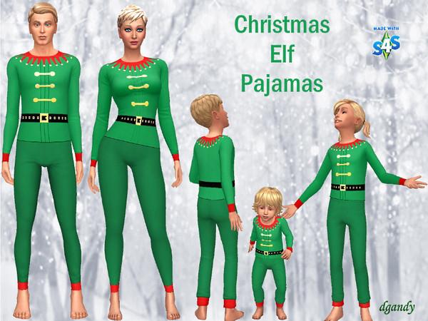 Christmas Elf Pajamas 2019 Set by dgandy at TSR image 23112 Sims 4 Updates