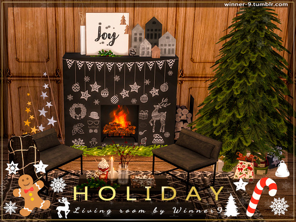 Holiday Living Room by Winner9 at TSR image 2328 Sims 4 Updates
