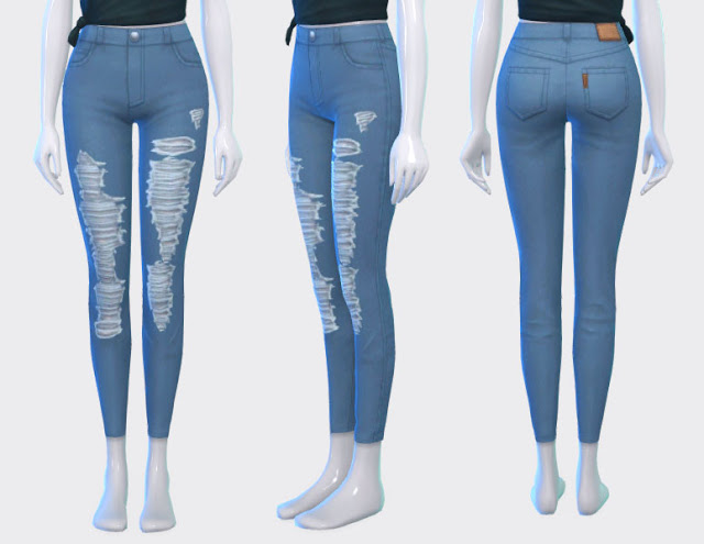 Sims 4 Ripped Jeans & Band Tee Collab Project at Pickypikachu
