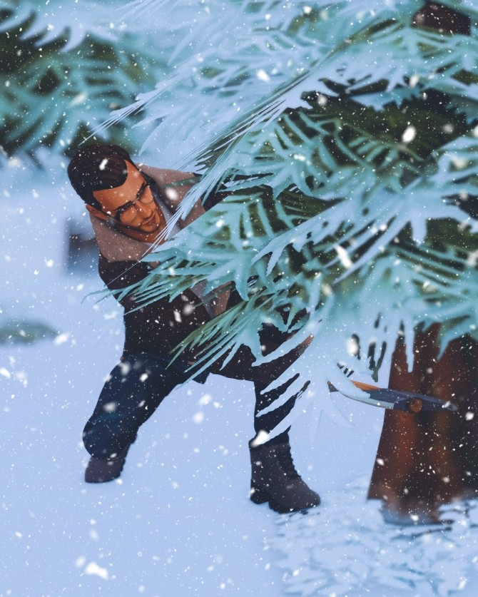 Sims 4 Christmas Tree Hunting Poses at Katverse