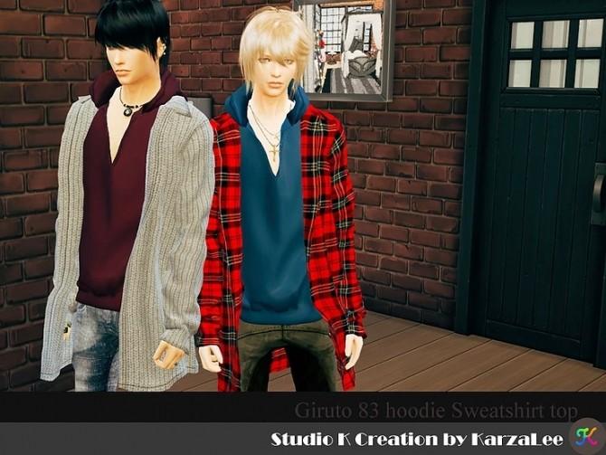 Giruto 83 hoodie sweatshirt top at Studio K Creation image 2424 670x503 Sims 4 Updates