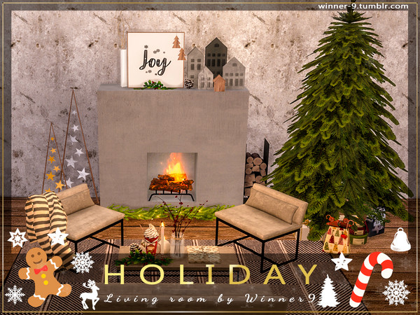 Holiday Living Room by Winner9 at TSR image 2428 Sims 4 Updates