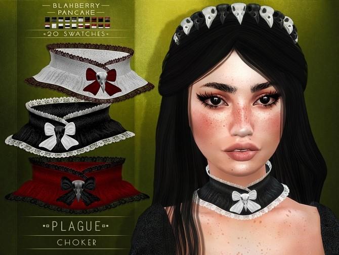 Sims 4 Plague choker and headband at Blahberry Pancake