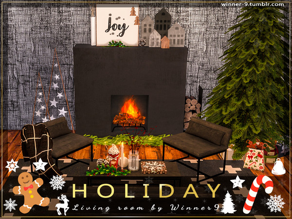 Holiday Living Room by Winner9 at TSR image 2526 Sims 4 Updates