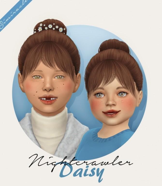 Sims 4 Nightcrawler Daisy hair + flowers at Simiracle