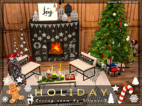 Sims 4 Holiday Living Room by Winner9 at TSR