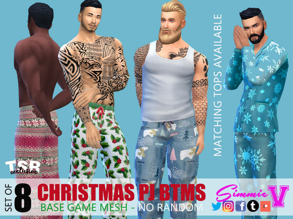 Christmas Pajama Bottoms by SimmieV at TSR image 2654 Sims 4 Updates