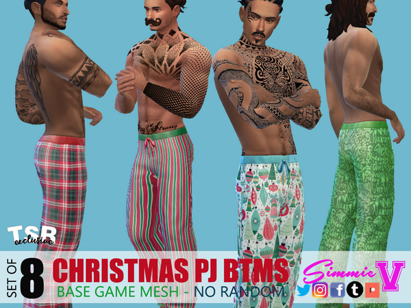 Christmas Pajama Bottoms by SimmieV at TSR image 2663 Sims 4 Updates