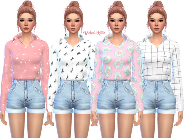 Loose Button Up Top by Wicked Kittie at TSR image 2725 Sims 4 Updates