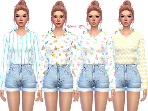 Loose Button Up Top by Wicked Kittie at TSR image 2820 Sims 4 Updates