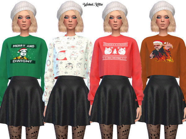 Dank Christmas Sweaters by Wicked Kittie at TSR image 2917 Sims 4 Updates