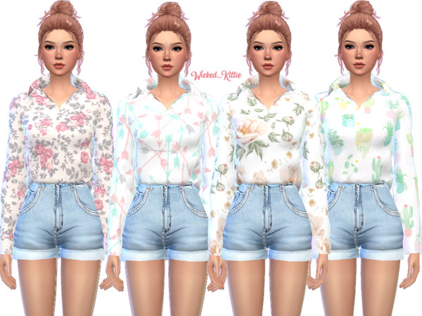 Loose Button Up Top by Wicked Kittie at TSR image 2921 Sims 4 Updates