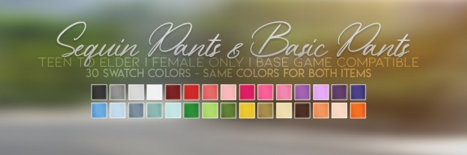 Sims 4 SEQUIN & BASIC PANTS at Candy Sims 4