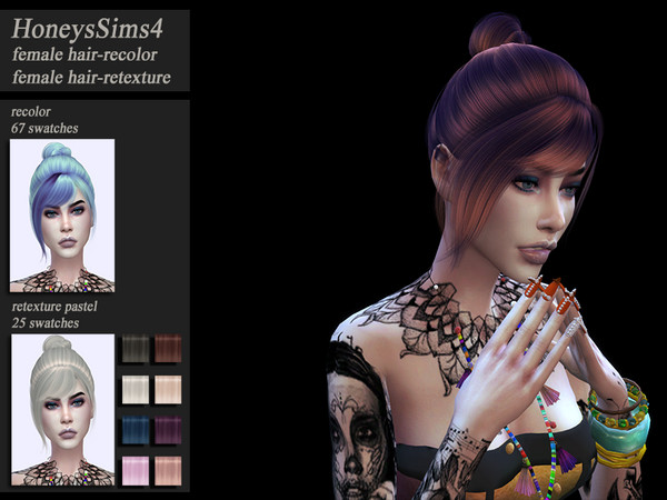 Sims 4 Hair recolor retexture WingsOE0206 by HoneysSims4 at TSR
