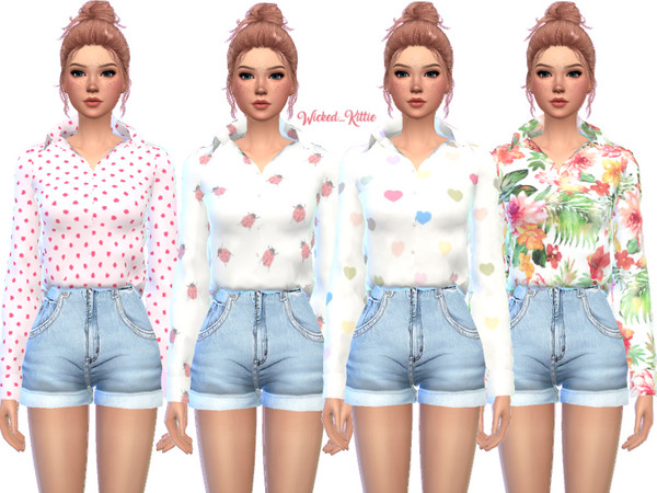 Loose Button Up Top by Wicked Kittie at TSR image 3021 Sims 4 Updates