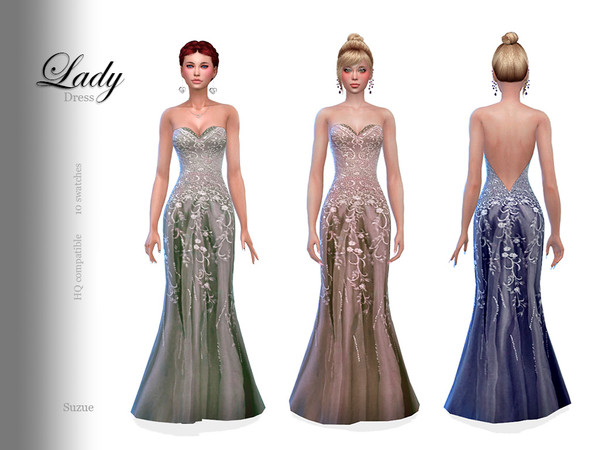 Sims 4 Lady Dress by Suzue at TSR