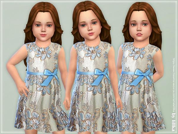 Sims 4 Shiny Jacquard Dress by lillka at TSR