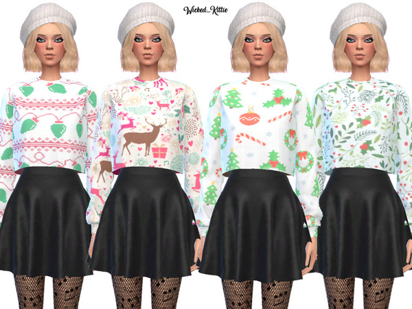 Sims 4 Dank Christmas Sweaters by Wicked Kittie at TSR