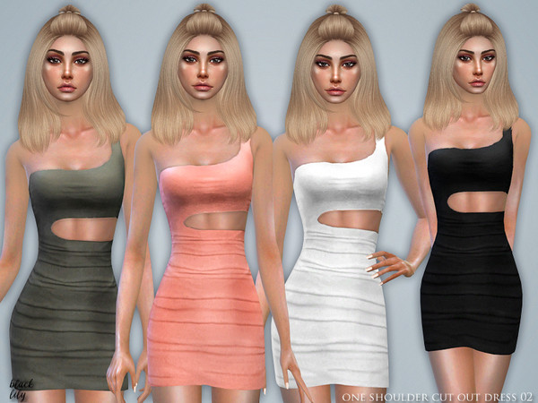 Sims 4 One Shoulder Cut Out Dress 02 by Black Lily at TSR