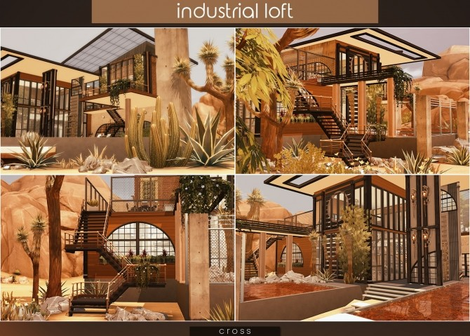 Sims 4 Industrial Loft by Praline at Cross Design