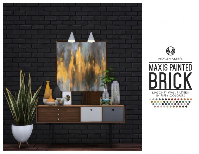 Sims 4 Maxis Painted Brick Wall in Fifty Colours at Simsational Designs