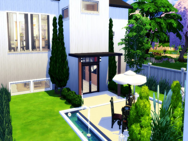 Sims 4 Modern and wood home by GenkaiHaretsu at TSR