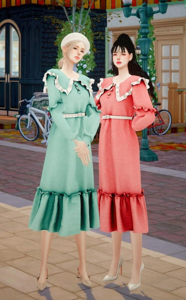 Sims 4 Frill collar long dress at RIMINGs