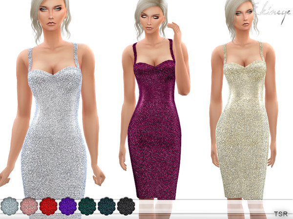 Sequin Knit Dress by ekinege at TSR image 3361 Sims 4 Updates