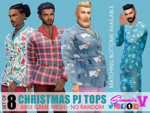Christmas Pajama Tops by SimmieV at TSR image 3381 Sims 4 Updates