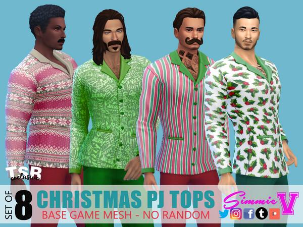 Christmas Pajama Tops by SimmieV at TSR image 3391 Sims 4 Updates