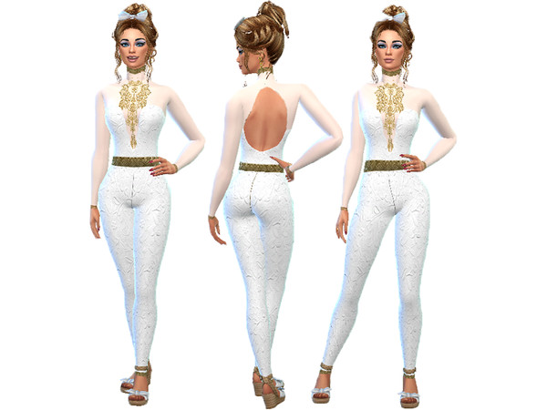 Sims 4 Gold lace wedding suit by TrudieOpp at TSR